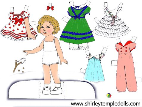 Cut outs of Shirley Temple dolls were a top seller in the late 1930s. You can see a number at the great website www.shirleytempledolls.com