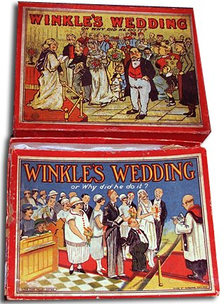 Winkles Wedding - a popular early board game from Chad Valley toys that was repeatedly updated and repackaged from 1900 until World War II