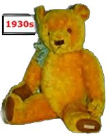"By the 1930s the Teddy Bear had become a little plumper, but retained the distinctive ribbon.  They have a sewn label on the left foot that reads ""Chad Valley Hygienic Toys"".  This one was made at the Wrekin Toy Works, Staffordshire."
