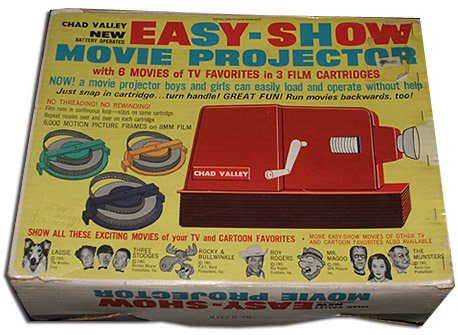 The innovative Chad Valley Super 8 projector came complete with 8mm movie versions of popular TV programmes from the UK and USA long before the video recorder was invented
