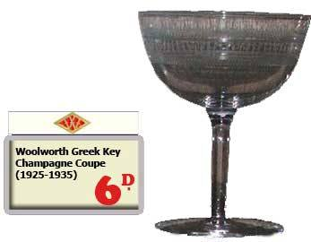 A rare champagne coupe in the Woolworth Greek Key pattern - a sixpenny special between 1925 and 1935