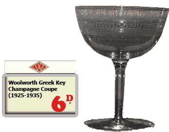 A much sought-after Woolworth special from the inter-war years - the Greek Key pattern Champagne Coupe, which was offered for sixpence to a few lucky shoppers.