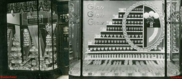 1930s windows displays showing china at Maidenhead (left) and wine glasses at Croydon (right)