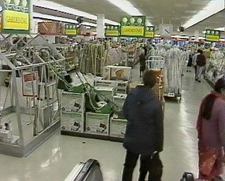 The large basement salesfloor of a City Centre Woolworth store in the 1980s included, among other things a fully assembled greenhouse, offered for sale on interest-free credit. The picture was taken in 1983
