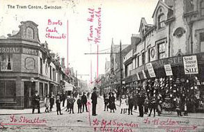 A postcard of the tram centre in Swindon. The location of Woolworths has been written on by the sender in 1914