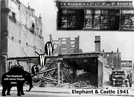 The Elephant and Castle will never forget 10 May 1941 when fire rained from the sky. Its Woolworth store was razed to the ground in under five minutes once the fire took hold.