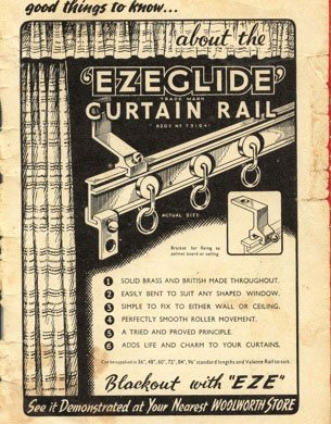 Ezeglide Curtain Track from Harrison Drape was repurposed as a result of the outbreak of war.  Now it was for blackout curtains.  (Image: from Good Things to Know, a Company magazine given out to the general public, Edition II, 1940)