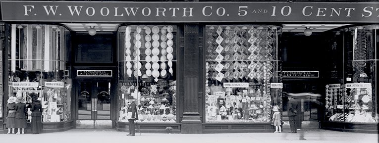 The windows of F.W. Woolworth Co's store at 22 East 14th Street in New York City show off the 5 & 10¢'s new range of American-made threads, needles and notions. The Founder had evangelised mass-manufacture in the USA to maintain stocks after U-boats cut his supply line to factories in London and Berlin