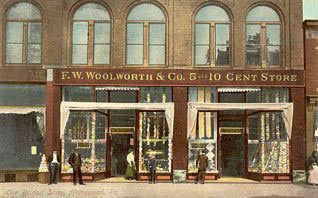 F. W. Woolworth's 5 and 10 cent store at Homestead, Pennsylvania, pictured in the early 20th century