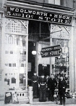 The Woolworth and Knox Five and Ten Cent Store in Reading, Pennsylvania, USA, which opened on 20 September 1884. Seymour Horace Knox is standing on the right hand side of the picture