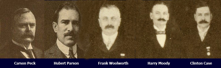 The senior management of F. W. Woolworth & Co. Ltd. of New York when the company was incorporated in 1905. Left to right: Carson Peck (Ops Director), Hubert Parson (Treasurer/FD), Frank Woolworth (President), Harry Moody (Supply Chain and Logistics), Clinton Case (Buying)
