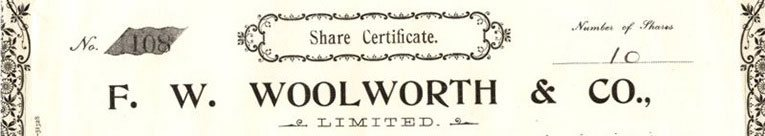 The top of an original F. W. Woolworth & Co. Ltd. share certificate. Preference share certificates were issued only to special friends of the company whose loyalty was guaranteed.