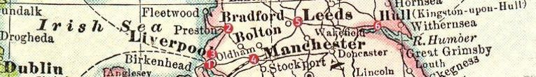 A map showing the locations of the first six British Woolworths stores - following the line of the modern M62 Motorway they stretch across the country from Liverpool in the West to Kingston-upon-Hull in the East