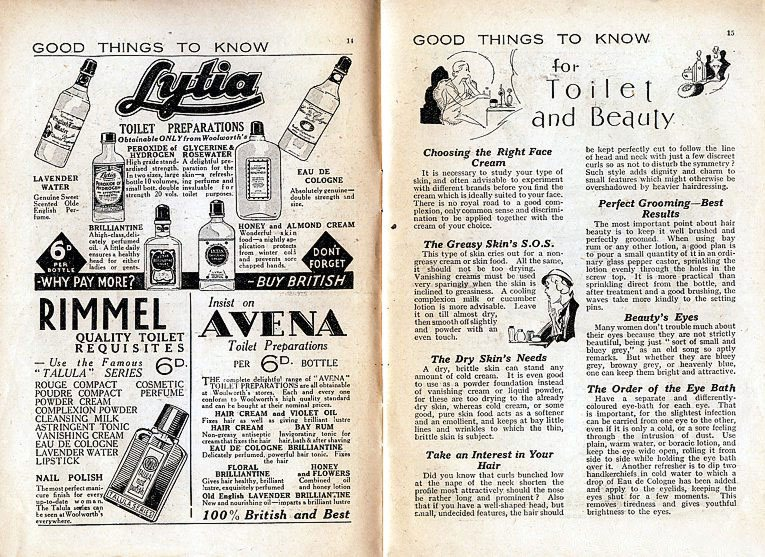 A sample spread from the first Good Things to Know booklet, which illustrates the mix of advertising and editorial. A number of advertisements from this booklet appear in the product galleries here in the Woolworths Museum