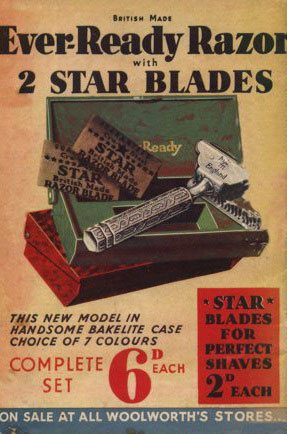 The back cover of the first F. W. Woolworth & Co. Ltd. Good Things To Know compact catalogue features an advertisement for an Ever Ready Razor with two star blades, all for sixpence