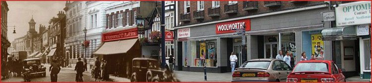Two Woolworths buildings in the High Street at Hitchin, Herfordshire. The original branch on the left is now occupied by Boots the Chemist, while the more recent store on the right has been adapted since Woolworths closed.