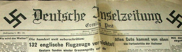 The masthead of the Jersey Evening Post for August 11th, 1940 - in German!  Call it propaganda or call it shock value - it was evidence that the invasion had started.