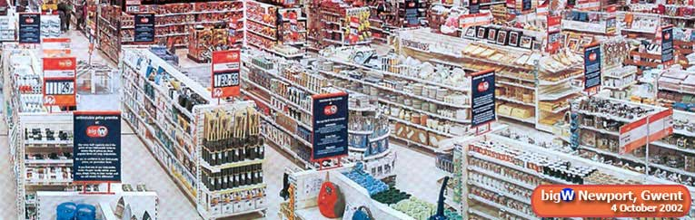 The large Kitchen Shop in the out-of-town Big W store in Newport, Gwent on its opening day, Friday 4 October 2002, the 93rd anniversary of the opening of the first sale of China and Glass in a British Woolworths on the upper floor of the Liverpool store in 1909