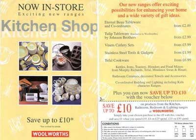A leaflet promoting the new Kitchen Shop in a City Centre Woolworths store