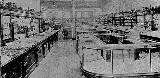 Main salesfloor in the Lancaster Pennsylvania branch of Woolworth's before World War I.  (Image with special thanks to Mr. Scott Oakford)