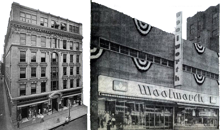 Woolworths in Lancaster PA - 1940 and 1960. This was called progress!