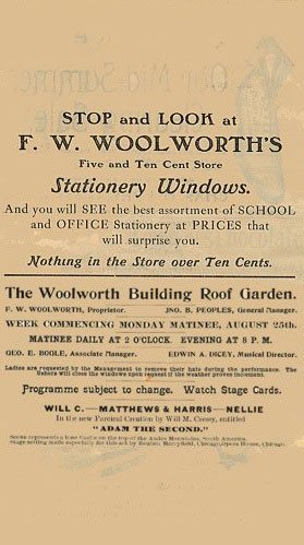 The Woolworth Building Theatre Programme includes serveral adverts for Frank Woolworth's Five and Ten