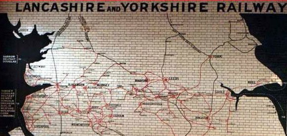 A map of the Lancashire and Yorkshire Railway from the wall of Manchester Victoria station.  The railway provided a shortcut for F. W. Woolworth goods from continental Europe to the reshipping warehouse in New York City