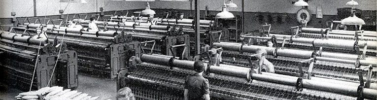 The Ladybird Factory at Langley, Buckinghamshire (later redesignated Berkshire), complete with spinning condenser yarn on ring frames from Platt Bros. & Co. of Oldham