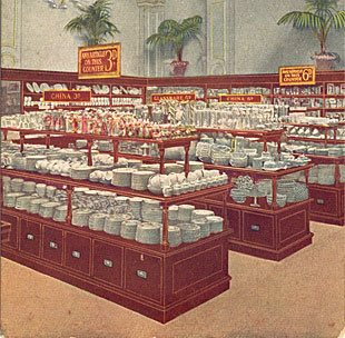 Mahogany counters crammed with China and Pottery from Hanley and Stoke-on-Trent, on the first floor of the first British Woolworths on opening day, Nov 5th 1909. (Image with special thanks to Mr Scott Oakford, Charles Sumner Woolworth's Great Grandson)
