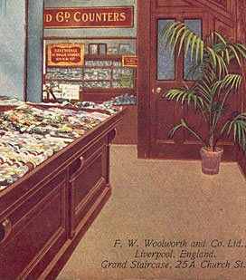 Haberdashery and other notions on sale on the ground floor of Britain's first Woolworths on its opening day, Nov 5th 1909. (Image with special thanks to Mr Scott Oakford, Charles Sumner Woolworth's great grandson)