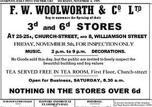 Opening advertisement from the Liverpool Daily Post & Mercury. (Our thanks to the Liverpool Echo)