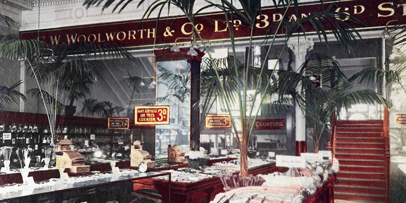A panorama of the ground salesfloor of the first British Woolworth store in Liverpool. Unusually it includes a full fascia, more commonly seen above the door outside.