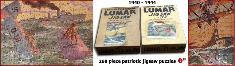 Left: 'Rescue', a Lumar Sixpenny Jigsaw from Woolworth's depicting a Nazi warplane D19 sinking at sea with the crew standing on the fusilage as an allied warship moves alongside to help out.  Center: The sixpenny puzzle boxes. Right: 'Patrolling the seas' showing an RAF biplane