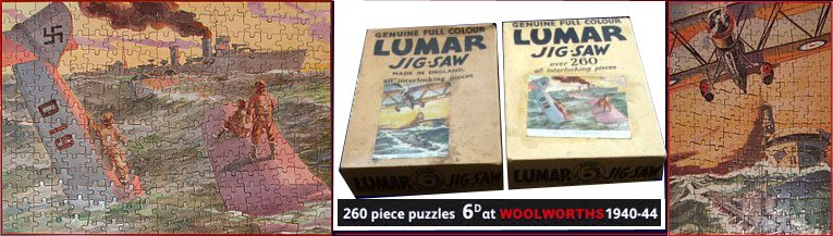 Patriotic Lumar-brand Jigsaw Puzzles from F.W. Woolworth in their original boxes. One shows a Luftwaffe plane sinking in the ocean and a British cruiser racing to rescue the survivors, and another showing an RAF plane and aircraft carrier. Price, just sixpence.