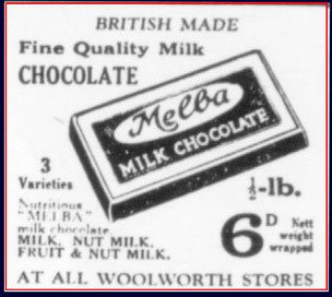 A half pound bar of Melba Milk Chocolate - sixpence from Woolworth's up until World War II