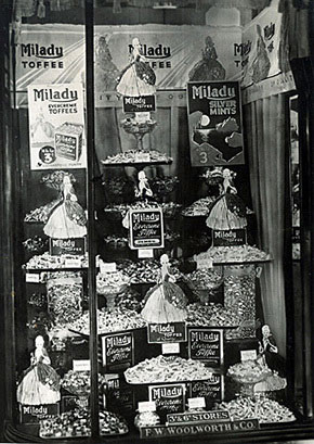 Milady brand mints and toffees - sold on the pic'n'mix counter at Woolworths in the 1930s, and featured in this elaborate window display