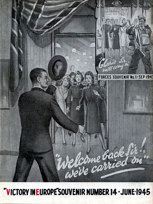 """Welcome home Sir, we've carried on"" - a Woolworth store celebrates their Manager's safe return from World War II in this illustration for the Staff Magazine."