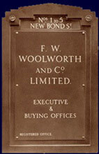 The name plate from the Woolworths headquarters in New Bond Street, which was the store chain's home from 1930 to 1959