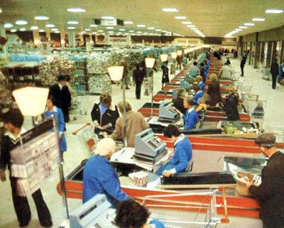 The checkout desks at the Newtownards Woolco stretched as far as they eye could see when it opened in July 1976