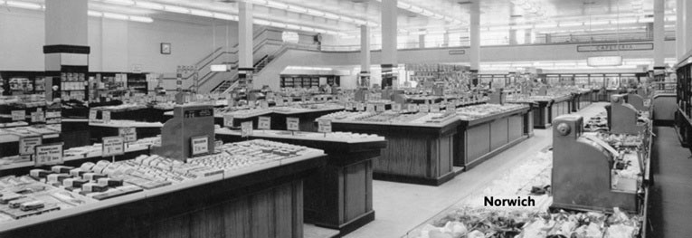 The new look salesfloor of Woolworth's in Rampant Horse Street, Norwich (No. 44) which was designed in 1949 and opened progressively through 1950-1.
