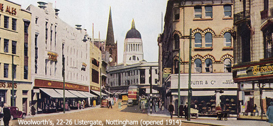 The flagship Woolworth in Listergate, Nottingham (No. 36), was extended before World War II to incorporate a 'cinema front' in portland stone. By the late 1940s it was one of the largest shops in the City
