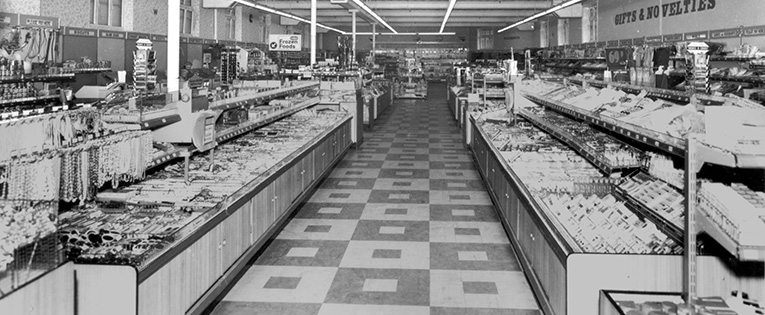 A long view of the salesfloor taken in around 1971