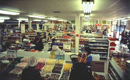 A long view of the salesfloor in 1978, with the legendary pic'n'mix counter in the foreground