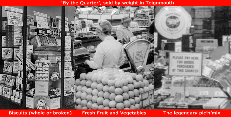 Sold by weight from personal service counters by Woolworth's in the Sixties - Biscuits, Fresh Fruit and Vegetables and Pic'n'Mix Sweets