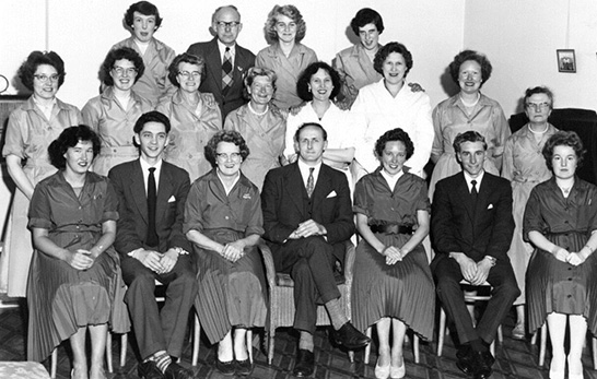 A Christmas team photograph at the Teignmouth Woolworth's in the Company's Golden Jubilee Year of 1959