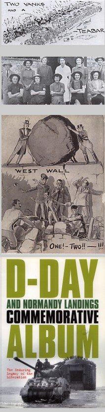 Home front defiance gave way to optimism as success followed the D-Day landings - John Bull and Uncle Sam are portrayed at the Wall of Berlin in the cartoon from the Woolworths New Bond Magazine