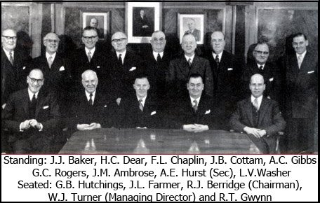 Pictured in the new Board Room at Woolworth House in Marylebone, London, the British Board in a photograph to commemorate their Company's Golden Jubilee in 1959