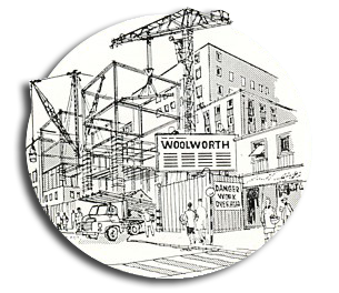 Cartoon depicting a new Woolworth store opening in the 1950s