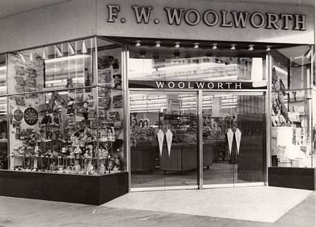 The main entrance doors to the Bulawayo Woolworths Store in Zimbabwe, pictured in 1964