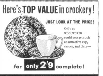 Press advertisement for a china cup, saucer and tea plate combination at two shillings and ninepence - a Woolworth special in 1963